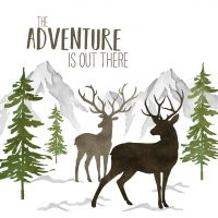 Napkins 33x33 cm - Adventure Deer white