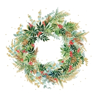 Napkins 33x33 cm - Christmas Hill Wreath