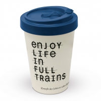 Bamboo mug To-Go - Enjoy life in full trains