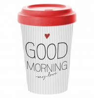 *)Becher aus Bambus Good Morning Love