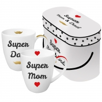 Porzellan-Henkelbecher - Super Mom & Dad