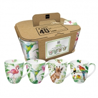 Porzellan-Henkelbecher - Mugs Tropical Set of 4