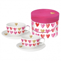 Cappuccino Cups - Aquarell Hearts real gold