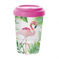 Bambusbecher To-Go - Tropischer Flamingo