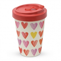 Bamboo mug To-Go - Aquarell Hearts