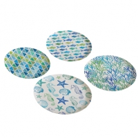 Bamboo plate - Bamboo Plates Aquarell Beach Set of 4