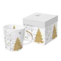 Porzellan-Henkelbecher - Mystic Tree white real gold