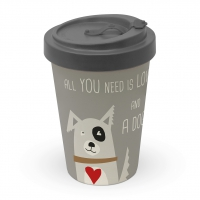 *)Becher aus Bambus  Love and Dog