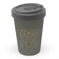 *)Becher aus Bambus Geometric Heart cement