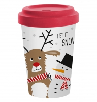 *)Becher aus Bambus Snow Friends