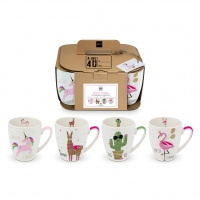 Porzellan-Henkelbecher - Mugs Pink Unicorn & Friends Set of 4