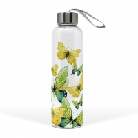 Glass Bottle - Green Butterflies