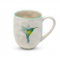 Porcelain cup with handle - Organic Tropical Hummingbird
