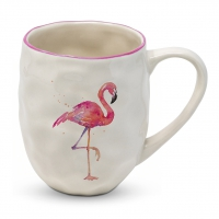 Porzellan-Henkelbecher - Organic Tropical Flamingo