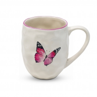 Porcelain cup with handle - Organic Tropical Butterfly