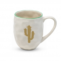 Porcelain cup with handle - Organic Cactus Fantasy real gold