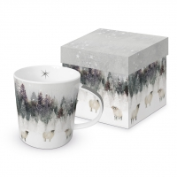 Porcelain cup with handle - Snowy Landscape