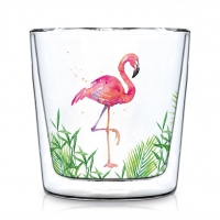 Doppelwand Glas 0,3 L - Tropical Flamingo