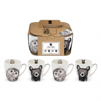Porcelain cup with handle - Owl & Bear 4 Set