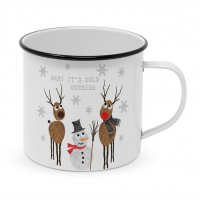 Metal Cup - Cold Outside Happy Metal Mug
