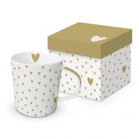 Porzellan-Henkelbecher - Little Hearts Real gold Trend GB