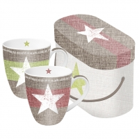 Porzellan-Henkelbecher Mug Set GB Star Fashion red