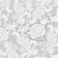 Servietten 33x33 cm - Lace Royal silver white