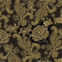 Lunch Servietten Lace Royal black gold
