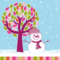 20 Servietten 33x33 cm - Snowman under the Tree