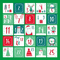 20 Servietten 33x33 cm - Advent Calender grün