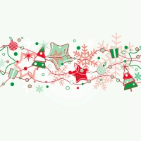 20 Servietten 33x33 cm - Garland Red and Green