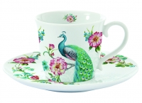 Tee-Tasse mit Untertasse TEA C&S PEACOCK