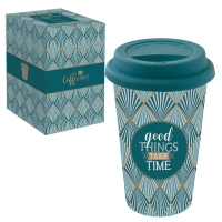 Porzellan Mug To-Go 350ml - GOOD THINGS TAKE TIMES