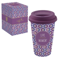 Porzellan Mug To-Go 350ml - LIVE EVERY MOMENT