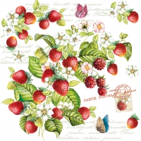 Servietten 33x33 cm - ROMANTIC STRAWBERRY