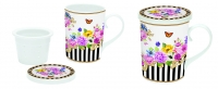 Porzellan-Henkelbecher Infuser set in gift box FLOWERS GLAMOUR