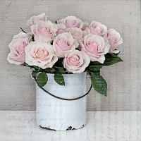 Servietten 33x33 cm - BUCKET WITH ROSES