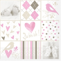 Tissue Lunch Servietten - BABY rosa