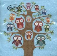 Cocktail Servietten Owl Family Tree blue
