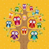 Cocktail Servietten Owl Family Tree pumpkin