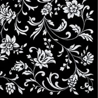 Cocktail Servietten Arabesque Black black-white