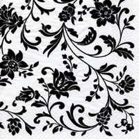 Servietten 24x24 cm - Arabesque White white-black