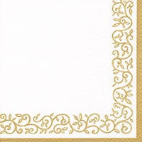Servietten 24x24 cm - Romantic Border gold-white
