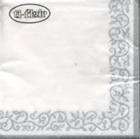 Servietten 24x24 cm - Romantic Border silver-white