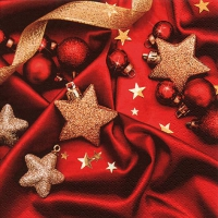 Servietten 33x33 cm - Baubles on Red Silk