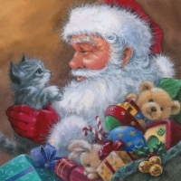 Servietten 33x33 cm - Santa with Kitten