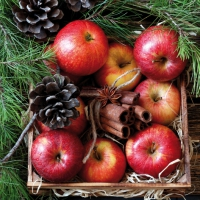 Servietten 33x33 cm - Red Apples in Wooden Box