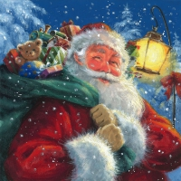 Servietten 33x33 cm - Santa with his Presents