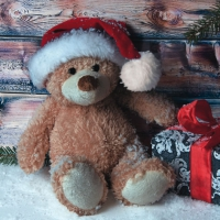 Lunch Servietten Christmas Teddy with Present