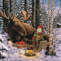 Servietten 33x33 cm - Nisse with Moose